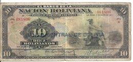 BOLIVIE 10 BOLIVIANOS ND1929 VG+ P 114 - Bolivië