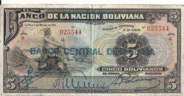 BOLIVIE 5 BOLIVIANOS ND1929 VF P 113 - Bolivie