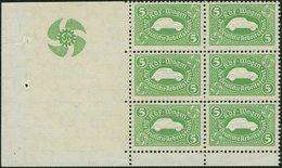 1941, 5 Mark Sparmarke (grün) Für Einen KDF-Wagen, Ur-VW-Käfer, Randsechserblock - Deutschland