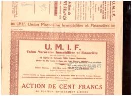 Maroc Tanger 5 Actions De 100 Francs Au Porteur 1939. 24 Coupons Chacune. Union Marocaine Immobilière Et Financière UMIF - Banque & Assurance