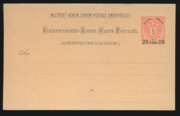 AUTRICHE  - CORRESPONDENZ KARTE - 20 PARA OP 5 KR - Briefe U. Dokumente