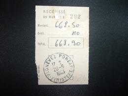 RECEPISSE DU MANDAT OBL.20-9 1963 PLONOVEZ-PORZAY FINISTERE (29) - Marcophilie (Lettres)