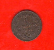 1 Centesimo 1896 Umberto I° Regno D'Italia 1 Cent Savoia Italy - 1861-1946 : Reino