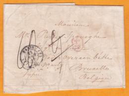 1837 - Lettre Avec Corresp De Paris Vers Bruxelles, Belgique - Taxe 10 - Cachet à Date Transit - Entrée Quiévrain - 4 P - Marcofilia (sobres)