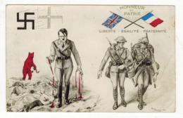 WWII 1939 ANTI HITLER ANTI NAZI ALLIED PATRIOTIC POSTCARD ARTIST SIGNED PAUL BARBIER - France