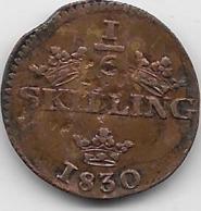 Suède - 1/12 Skilling 1830 - Sweden