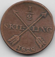 Suède - 1/2 Skilling 1828 - Sweden