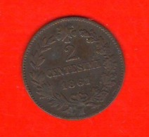 2 Centesimi 1861 M Vittorio Emanuele II° Regno Italia - 1861-1946 : Reino