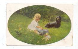 HUNDE - DACKEL / Teckel / Dachshund / Bassotto - Dackel Mit Mädchen Und Spielzeug, Künstler-Karte Paul Heckscher - Hunde