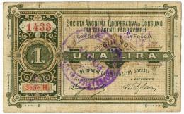 1 LIRA FIDUCIARIO SOCIETÀ COOP. IMPIEGATI FERROVIARII FOGGIA 15/05/1894 BB- - Altri