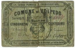 50 CENTESIMI BIGLIETTO FIDUCIARIO COMUNE DI VOLPEDO MB/BB - Altri