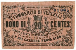 20 CENTESIMI BIGLIETTO FIDUCIARIO COMMERCIO DI VERCELLI BB+ - Altri