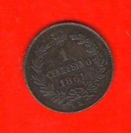 1 Centesimi 1861 M Vittorio Emanuele II° Regno Italia - 1861-1946 : Reino