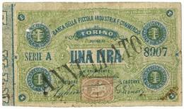 1 LIRA BIGLIETTO FIDUCIARIO BANCA DELLA PICCOLA INDUSTRIA E COMMERCIO BB- - [ 1] …-1946 : Regno