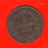 2 Centesimi 1867 M Vittorio Emanuele II° Regno Italia - 1861-1946 : Reino