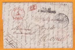 1840 - Lettre Avec Corresp Familiale D' Anvers, Belgique Vers Roma, Italia EN POSTE RESTANTE - PP -  Via France - 1830-1849 (Independent Belgium)