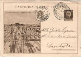 REGNO D'ITALIA INTERO POSTALE STAZIONE DI MILANO INGRESSO DEI TRENI 1931 - FILAGRANO C69 / 2 DA CREMONA A CAVA TIGOZZI - 1900-44 Vittorio Emanuele III
