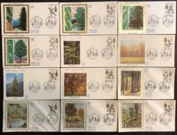 France - FDC - Premier Jour - Lot De 12 FDC - Thématique Arbres - Nature De France - 1985 - FDC