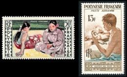 POLYNESIE 1958 - Yv. PA 1 Et 2 *   Cote= 23,50 EUR - Graveur Sur Nacre Et Tableau Gauguin  ..Réf.POL24613 - Poste Aérienne