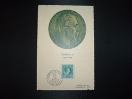 CP CHARLES III TP JOURNEE DU TIMBRE 1948 6F+4F OBL.6 MARS 1948 JOURNEE DU TIMBRE MONACO - Monaco