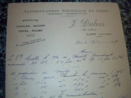 Facture  Lettre A Entéte Dubois Alimentation Générale En Gos HUILE  Savon Café Rhum à Lure Hte Garonne Année 1929 - Altri