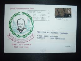 LETTRE TP ANGLETERRE WINSTION CHURCHILL 4d OBL.MEC.8 JLY 1965 LONDON - Sir Winston Churchill