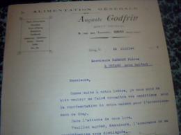 Facture  Lettre A Entéte Année 1929 Alimentation Générale AUGUSTE GODFRIN à GRAY Hte Saône - Alimentare