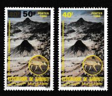Djibouti;1984  Cheminées Volcaniques 40f Et Timbre Surchargé 50f - Volcanos
