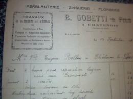 Facture   Ferblanterie Zinguerie Plomberie B GOBETTI A Châtenois  Les Forges Années 1944 - Frankreich