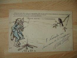 Dessin Poilu  7 Novembre 1914 Soldat Allemand Feu Bois  Corbeau Sur Carte Franchise Ref 1 Voir Description - Guerra 1914-18