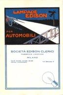 """01300 """"LAMPADE EDISON PER AUTOMOBILI - SOCIETA' EDISON CLERICI - MILANO"""" PUBBLICITA'  DA PERIODICO ANNI '20, XX SEC. - Advertising"""