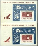Russia 1967 Revolution,Space,Planets,Stars,Satellite,M.Bl.49 X2,MNH,ERROR - 1923-1991 USSR