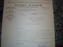 Facture  Lettre A Entete   Fabrique D Emballages Métallique HENRY WEBER à Botans Territoire De Belfort 1938 - Frankreich