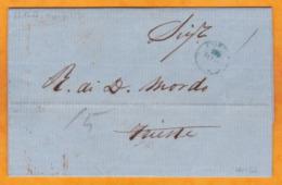 1858 - Lettre Avec Corresp En Italien De CORFOU (occupation Britannique) Vers Trieste, Autriche, Auj. Italie - ...-1861 Prephilately