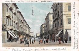 LA SPEZIA - CORSO CAVOUR WITH A MIDDLESBOROUGH 1904 DUPLEX POSTMARK ~ A VINTAGE POSTCARD #98113 - La Spezia