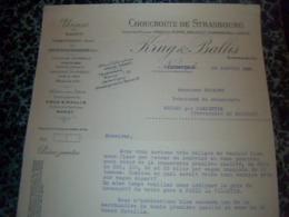 Facture Usine De Choucroute De Strasbourg KRUG BALLIS à Vallentigny Année 1931 - Alimentaire