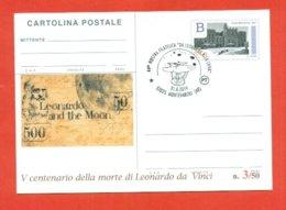 INTERI POSTALI-INTERO POSTALE SOPRASTAMPA PRIVATA-MONTEVARCHI--LEONARDO DA VINCI-MARCOFILIA-MOSTRE - 6. 1946-.. Republic