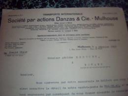 Facture Lettre  De 1930  Société Par Actions DANZAS Et Cie MULHOUSE Transports Internationaux 1930 - Verkehr & Transport