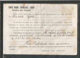 Guerre De 1939-45 - Cp Entier De1942 - Croix Rouge Française - Vichy , Service Des Convois - Marcophilie (Lettres)