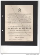 De Rossius De Bouillon Eugene Claes °Château Libois 30/8/1819 + Rullingen Looz 22/11/1910 Berlingen WAHIS Kerchove D'Exa - Avvisi Di Necrologio