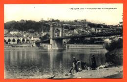 """CPA 01 Trévoux """" Pont Suspendu Et Vue Générale """" Blanchisseuses - Trévoux"""