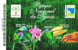 BRAZIL #3174 -  BRAZILIAN NATIONAL PARKS - TIJUCA FOREST  - BIRDS - FAUNA - HEDGEHOG -  2011  MNH - Brazil