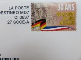 Enveloppe - Destinéo - Club Français De La Monnaie - 30 Ans De La Chute Du Mur De Berlin - Pièce 2 € - 2019 - Entiers Postaux