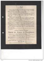 De Rosen De Borgharen Arthur Bourgmestre WAltwilder ° 1846 + Bilzen 25/12/1927 Thomaz De Bossière Moffaerts Schaetzen - Avvisi Di Necrologio