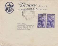 "449 -  - STORIA POSTALE - BUSTA PUBBLICITARIA ""VICTORY AMERICAN DDT"" - DUE VALORI DA 20 Lire AMG-FTT - TRIESTE - 1946-60: Marcofilie"