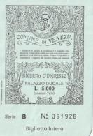 TICKET - ENTRADA / PALAZZO DUCALE - VENEZIA - 1986 - Tickets - Entradas