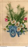 FÊTES-VOEUX  BONNE FÊTE LOUISE  Carte Lettre   Chromo  Découpis  Charrette De Fleurs - Felicitaciones (Fiestas)