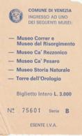 TICKET - ENTRADA / MUSEO CORRER E RISOGIMENTO / CA' REZZONICO ....... - VENEZIA - 1986 - Tickets - Entradas