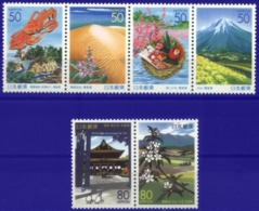 JAPAN, 2001, LANDSCAPES, FLOWERS, YV#3047-52, MNH - 1989-... Empereur Akihito (Ere Heisei)