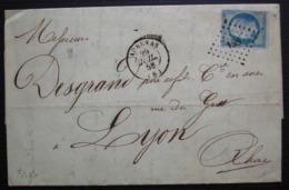 Aubenas 1858 Pc 158 Bertoye Frères étiquette à L'arrière Lettre Pour Lyon - 1849-1876: Classic Period